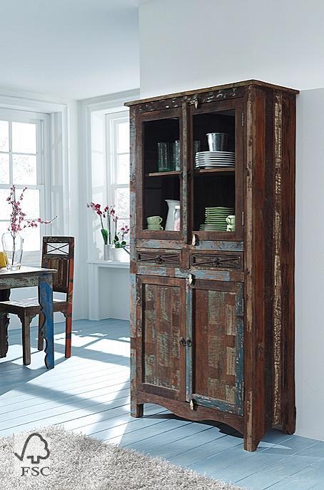 vitrine mit 2 glas 2 holzt ren 2 schubladen 3701. Black Bedroom Furniture Sets. Home Design Ideas