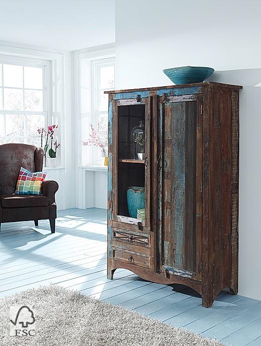 kommode mit 1 glas 1 holzt r 2 schubladen 3720 himalaya m bel wolf m bel w rzburg. Black Bedroom Furniture Sets. Home Design Ideas