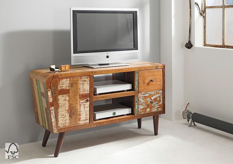 kommode retro mit 1 t r 2 schubladen 2 ablagen 3745. Black Bedroom Furniture Sets. Home Design Ideas